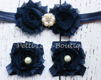 NAVY BLUE / Barefoot sandals and headband set, headband and barefoot sandals for infants and toddlers.