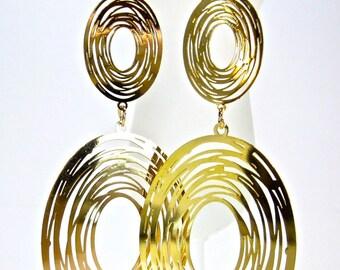 Gold Disc Dangle Drop Earrings Circles Fashion Jewelry Oorsieraden Oorbellen