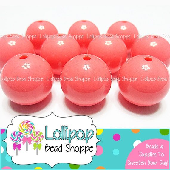 20mm PINK CORAL Gumball Beads Solid Acrylic Beads Gum Ball