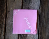 Hand stamped personalized name jersey knit swaddling blanket-pink