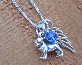 Pug Mini Angel Wing Sterling Silver Necklace (birthstone charm)