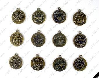 Bronze Zodiac Pendant & Cabochon ( Aquarius, Aries, Cancer, Capricorn, Gemini, Leo, Libra, Pisces, Sagittarius, Scorpio, Taurus, Virgo)