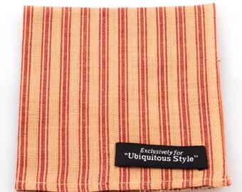 Crimson and Cream Stripe Pocket Square