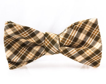"The ""Black/Gold/White Plaid"" Self Tie Bow Tie"