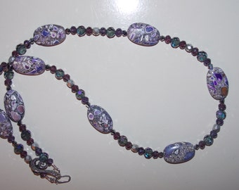 Purple Mosaic Purple Glass and Matte Silver Czech Glass Necklace