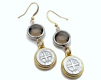 Burden of Proof- Swarovski Crystal & Vintage Religious Medal Charm Earrings