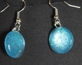 Aquamarine blue earrings light blue glitter earrings nail polish jewelry dangle fishhook round earrings glass cabochon earrings