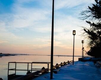 newburyport boardwalk, sunrise, merrimack river, snow, boardwalk, colorful skies
