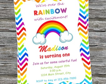 DIY - Rainbow Birthday Party Invitation #312- Coordinating Items Available
