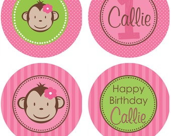 DIY - Girl Mod Monkey Birthday Party  or Baby Shower Cupcake Toppers # 197- Coordinating Items Available