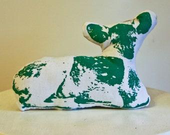 Deer Couch Pillow - Screen Printed Deer decorative animal pillow