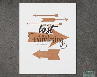 Travel Art, Wall Decor, Wall Art, Arrow Art Print, Just Wandering Arrow Letterpress Art Print, JJD_LP_ARWP