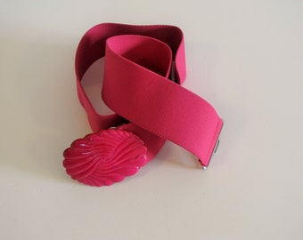 Vintage Hot Pink Womens Elastic Stretch Belt  - 31 inches unstretched