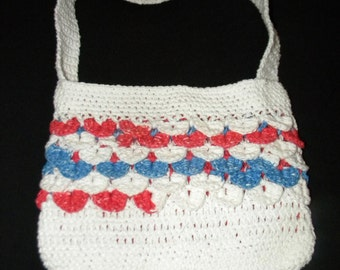 Patriotic Purse with Favric Liner - Crocodile Stitch - Ready to Ship