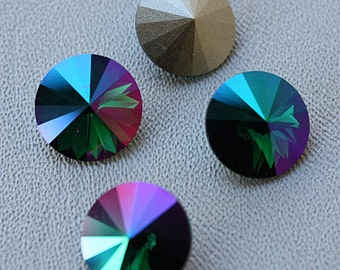 EMERALD PURPLE HAZE: Swarovski Elements Article #1122 14mm Rivoli Rhinestone (4)