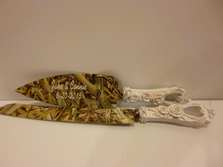 Rustic Wedding Camo Personalized Wedding Cake Knife Set