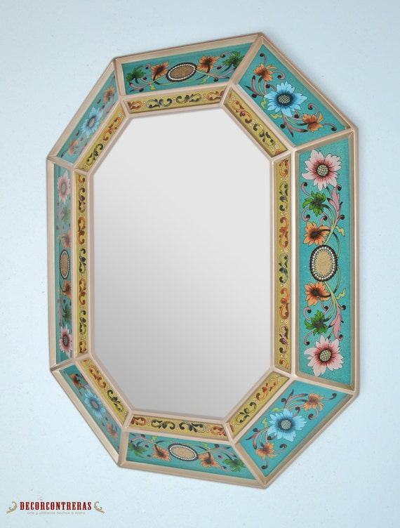 Large decorative mirror 39 navy floral 39 octogon wall for Large silver decorative mirrors