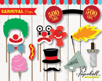 Carnival Props for Circus Birthday Party. 14 pieces of Circus Props. Instant Download Carnival Birthday Printables. DIY Photobooth Props.
