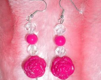 Hot pink roses earrings