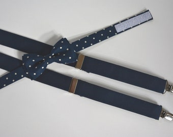 Boys navy blue and white polka dots suspenders and bow tie set, boys suspenders, boys bow tie,navy blue suspenders for men