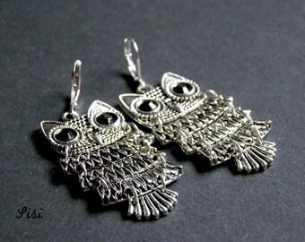 Earrings silver metal owls