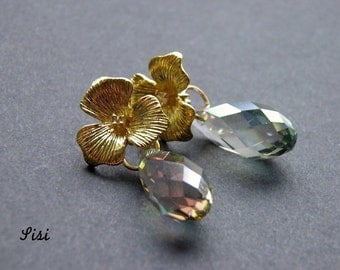 Earrings golden flower