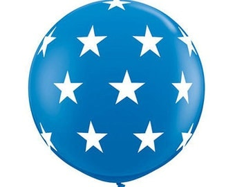 "SALE - Giant 36"" BLUE Latex Balloon with White Stars - Top Quality"