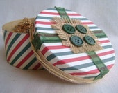 Festive Christmas gift box, Striped round gift box, Holiday gift giving, Pre-wrapped gift box, Keepsake box, Red green stripe, Burlap accent