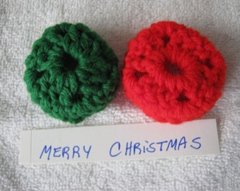 RED & GREEN  Ear Pads-Cookies-Cushions for Phone Headset, Call Center, Hand-crochetted, NEW.