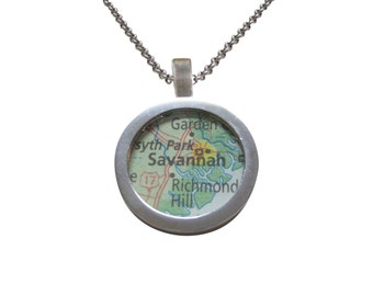 Savannah Georgia Map Pendant Necklace
