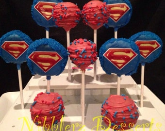 12 SUPERMAN Assortment Cake Pops, 1 DZ, Marvel Comics
