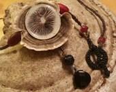 Gothic Mushroom Spore Print Pendant Necklace on Turkey Tail Polypore