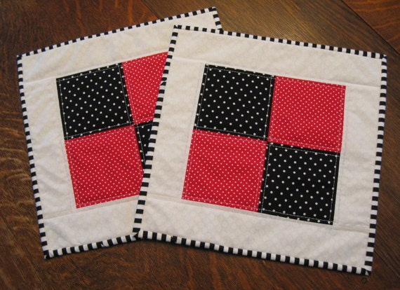 Quilted Snack Mats, Snack Mats, abstract snack mats, candle mat, table mat