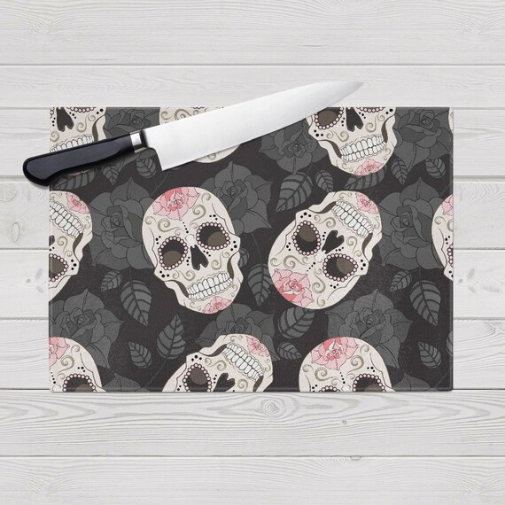 Glass Cutting Board, Sugar Skull Design