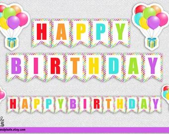 DIY Birthday Banner, Happy Birthday Printable Banner, Colorful Birthday Banner, Happy Birthday, Pennant Banner, Happy Birthday Printable