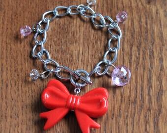 Bracelet Rockabilly with big red bow