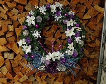 Big Fabulous Purple with Blue Christmas Wreath
