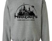 Hogwarts Magical Castle School Campus Gray Sweatshirt