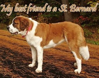 My Best Friend is a St Bernard Dog Fridge Magnet 7cm by 4.5cm,