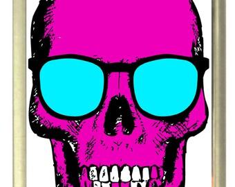 Magenta Skull Fridge Magnet 7cm by 4.5cm