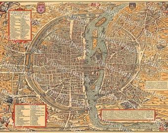 Old Map Vintage Paris City Plan Map Of Paris French - Restoration hardware paris map