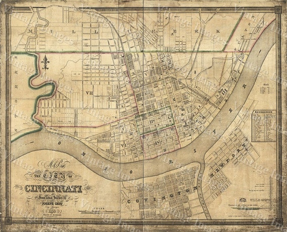Old Map of Cincinnati Historic 1838 Cincinnati Ohio Street Map Restoration Hardware Style Cincinnati Fine Art Print Wall map Home Decor Gift