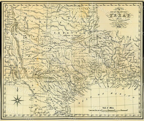 "1841 Republic of Texas map, Texas state Historical map, Antique Restoration Hardware Style Texas wall Map up to 42"" x 53"" Texas Art Print"