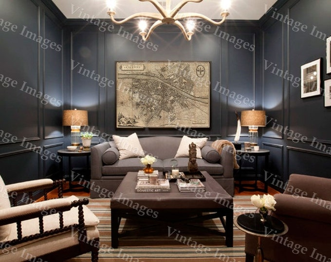 """Old map of Florence Italy 1847 Florence map up to 42x56"""" (107x143cm) Map of Firenze Old world Restoration Hardware style Italy wall map"""
