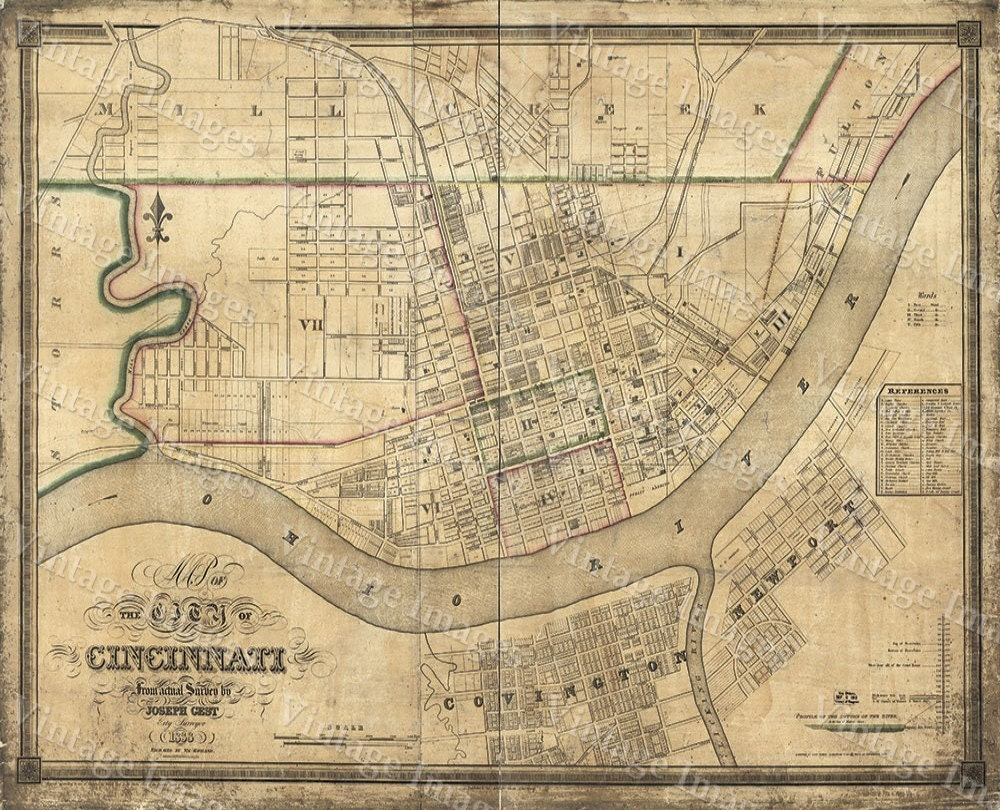 old map of cincinnati historic 1838 cincinnati ohio street map restoration hardware style cincinnati fine art - Home Decor Cincinnati