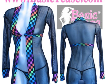 Long Sleeve Break Away Front Short Length Robe for Exotic Dancers or Swimsuit Cover at the Pool