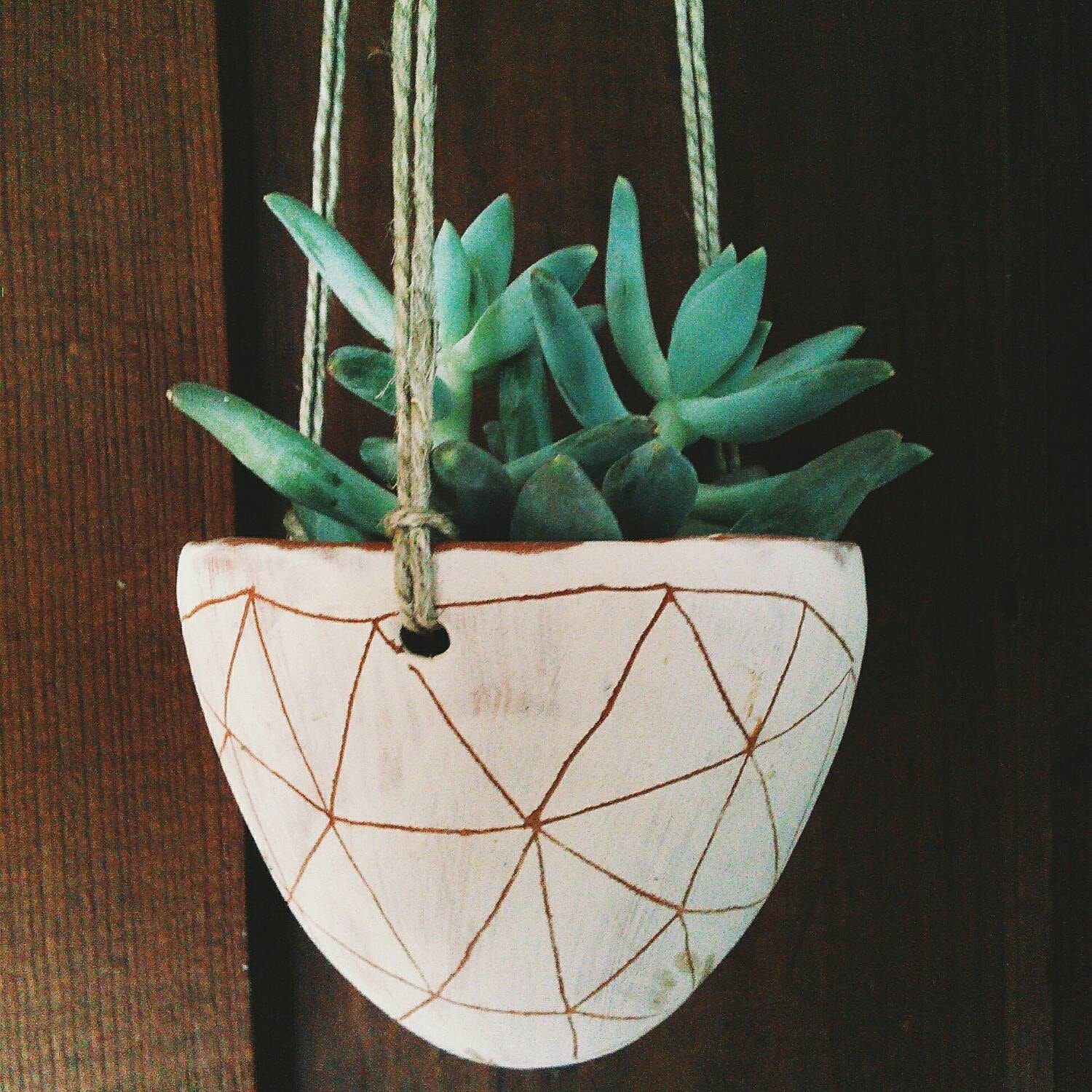 Hanging Terracotta Pots: Hand Carved Ceramic Hanging Planter / Terracotta & White