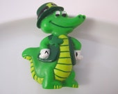 Adorable Green Alligator Lapel Pin - Hallmark 1984 Saint Patrick's Day Crockodile Brooch - Plastic Holiday Pin