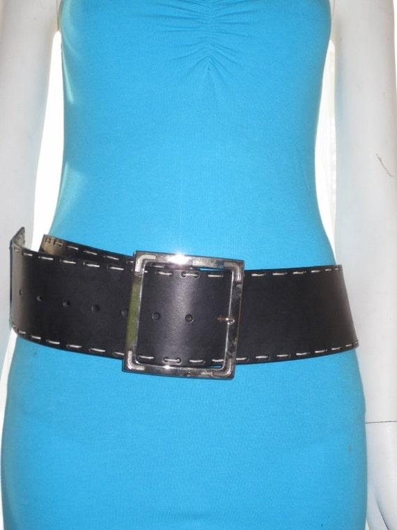 vintage womens black 3 inch wide belt black bonded leather