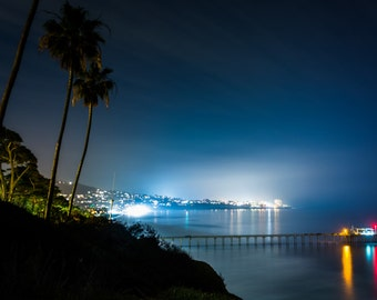 View of Scripps Pier and the Pacific Ocean at night in La Jolla, California - Landscape Photography Fine Art Print or Wrapped Canvas